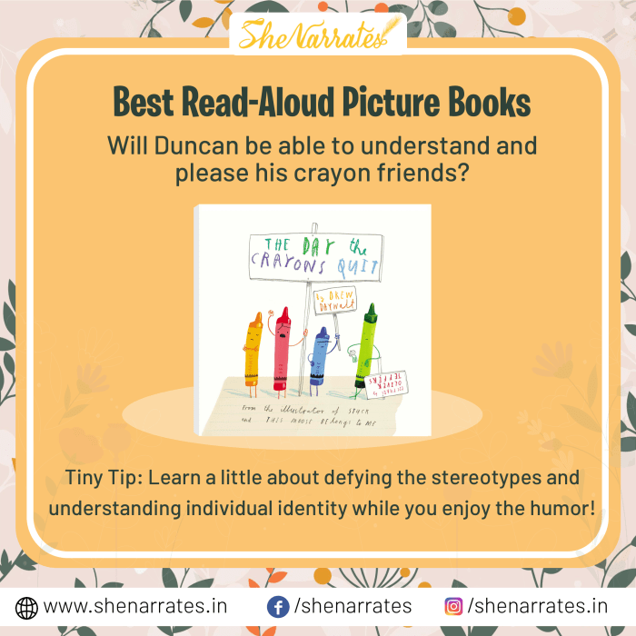 Teach kids a little about defying the stereotypes and understanding individual identity through an amazing read Aloud Picture book for kids- 'The Day the Crayons Quit' by Drew Daywalt and illustrated by Oliver Jeffers