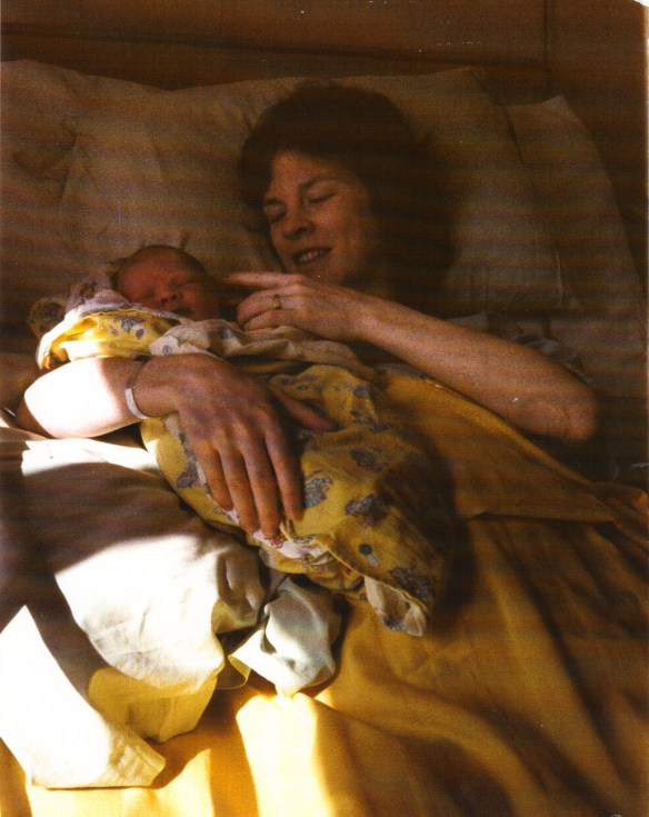 Hours old.  Erin With Mama (apologies for scanned photo quality)