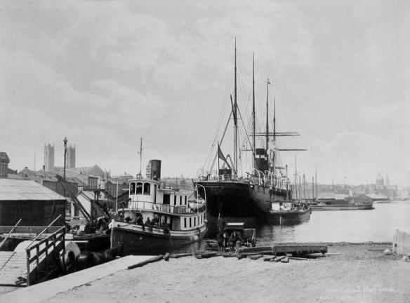 Tug Pulls SS Parisian into Montreal Harbour 1870