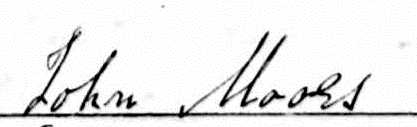 John's signature on his marriage certificate...