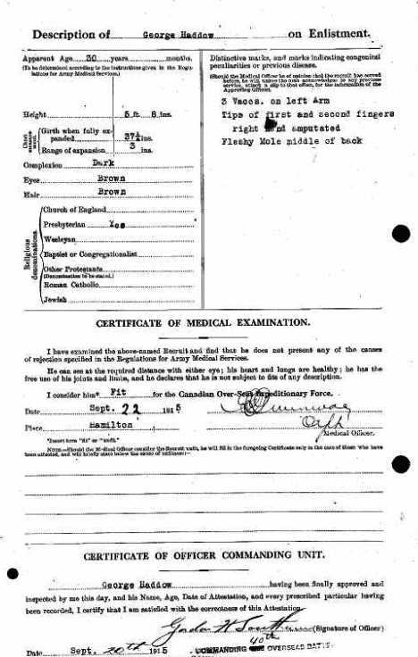 George Haddow Enlistment Papers September 20 1915