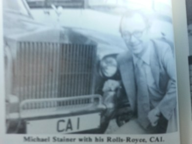 stainer with his rolls royce personalised plate