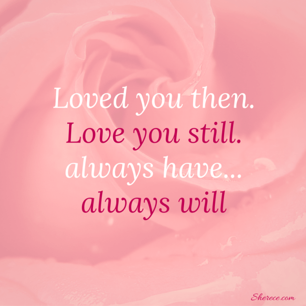 "Pink Rose with ""Loved you then. Love you still. always have... always will"""