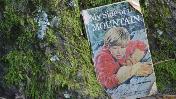 Cover of 1960s paperback version of My Side of the Mountain book by mossy oak tree roots. Photo by Sheree Martin