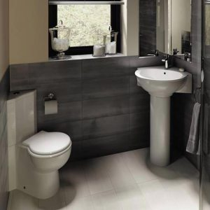 RAK Evolution Corner Toilet projects only 26.5""