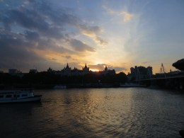 The sun sets on the Thames