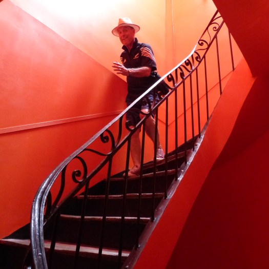 The gorgeous bright coloured staircase leading to our room in Casa Ortega