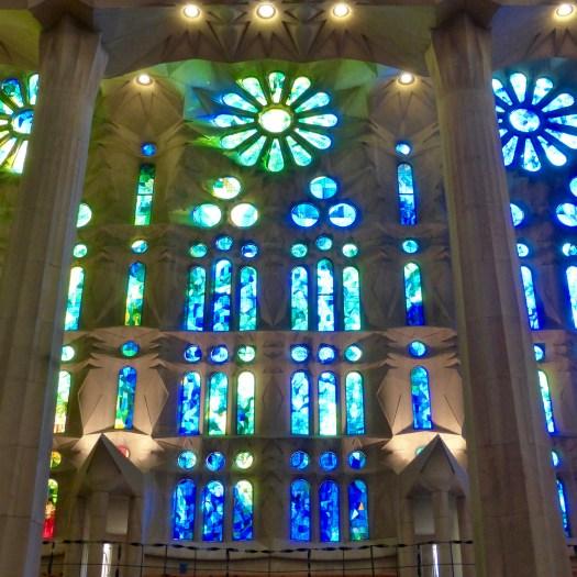 Blue light on the Nativity Facade