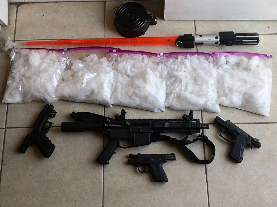 $140,000 est Street Value in Drugs and Weapons Seized.