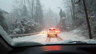 7 minutes later I was in this backup of slipping cars waiting to get to my turnoff home (see video link in post text)
