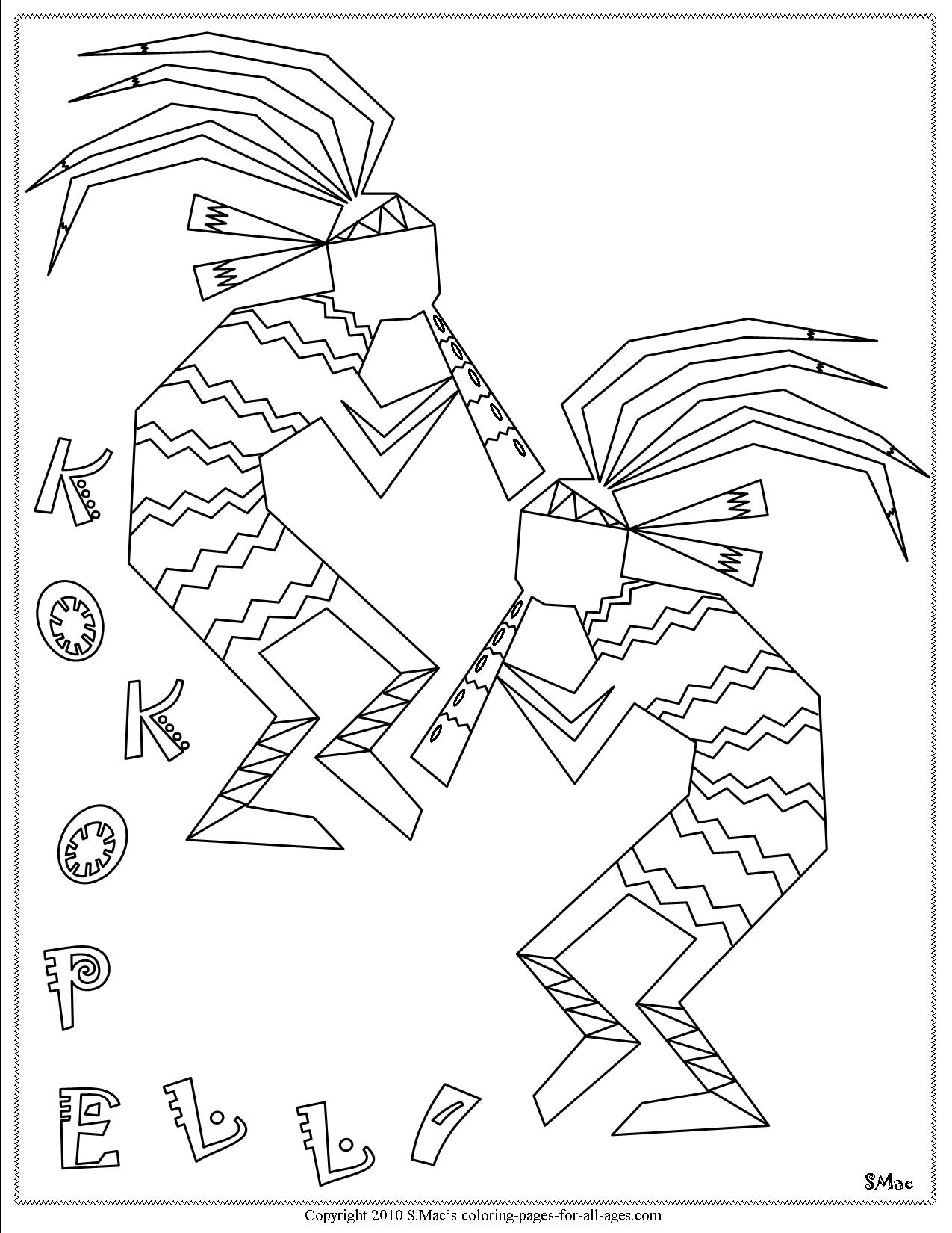 Kokopelli Coloring Pages Sc S Place To Be