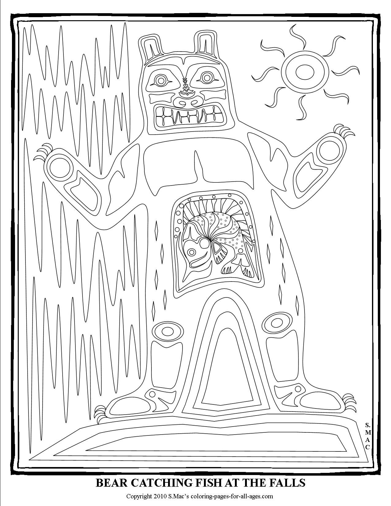 Pacific Northwest Native American Art Coloring Pages S