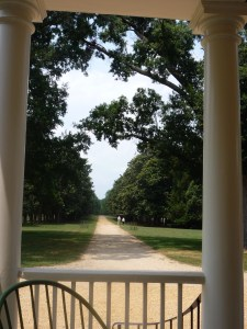 View from porch of Gunston Hall (house over 200 years old)