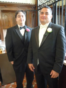 Bestman James and Groom Ben wait in sacristy before Mass