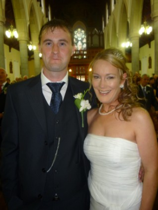 Brendan and Aoife just after the wedding Mass