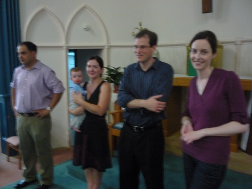Mary and Gord with best man and bridesmaid during rehearsal