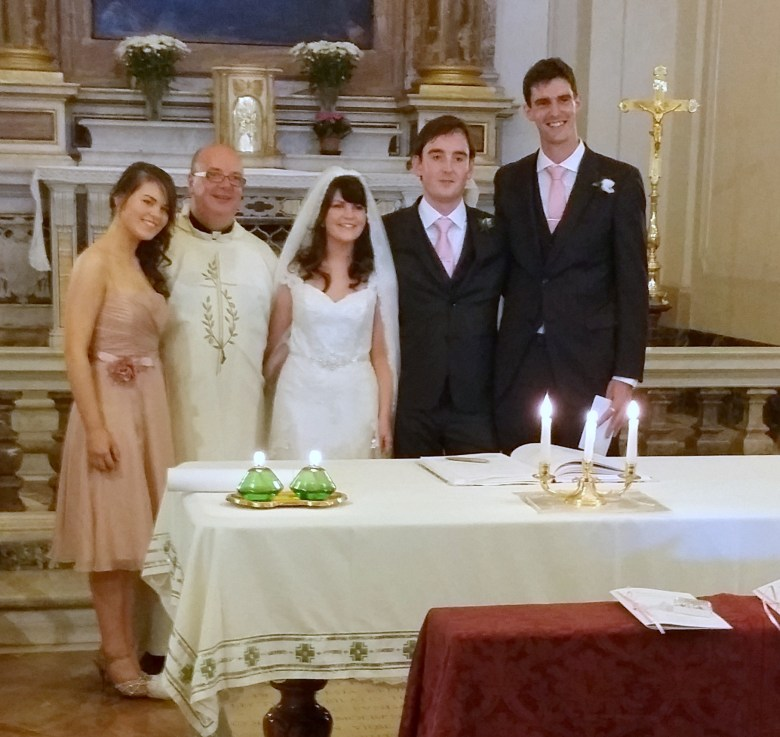 After the Wedding Mass with Anita, Nicola, James and (Tall) Paul