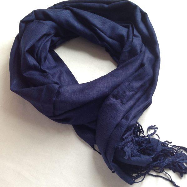 Sherocksabun Thai Pashmina collection. Zipper pocket infinity scarf, no print color options. Midnight blue