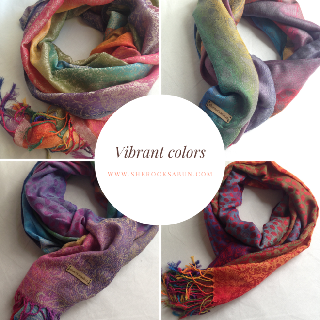 sherocksabun Thai Pashmina infinity scarf with zippered pocket, vibrant colors