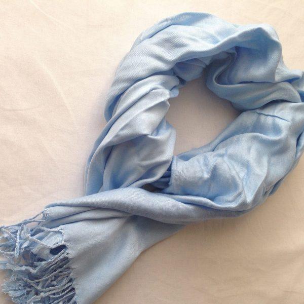 sherocksabun Thai Pashmina infinity scarf with zippered pocket, plain colors, ice blue