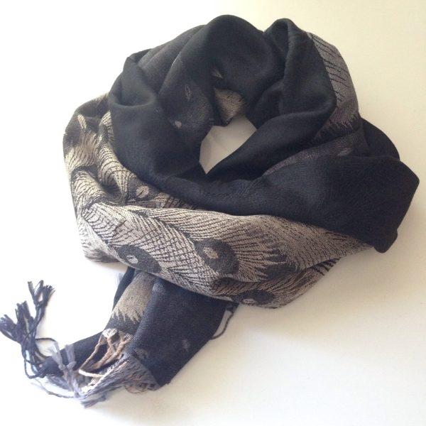Peacock print pocket scarf black-beige by sherocksabun