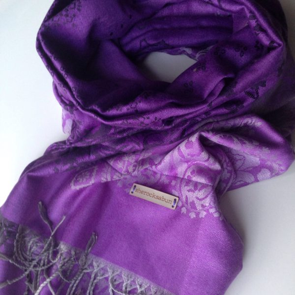 Black-grey-white florals purple pocket scarf by sherocksabun