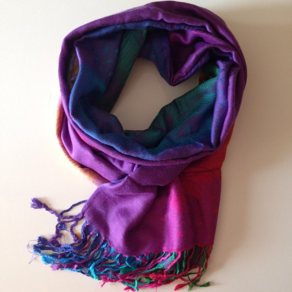 Tropical peacock purple pocket scarf by sherocksabun