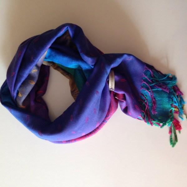 Tropical peacock blue pocket scarf by sherocksabun