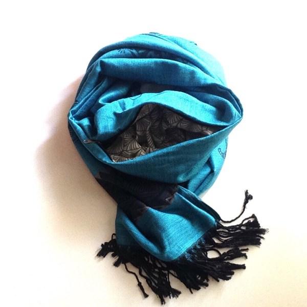 Teal dark blue elephant pocket scarf by sherocksabun