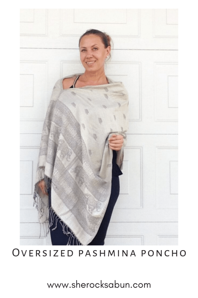 Thai Pashmina Oversized poncho in elephant grey by sherocksabun