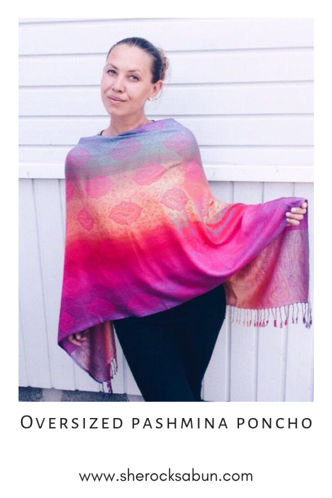"Thai Pashmina Oversized poncho ""Color me happy"" pink, by sherocksabun"