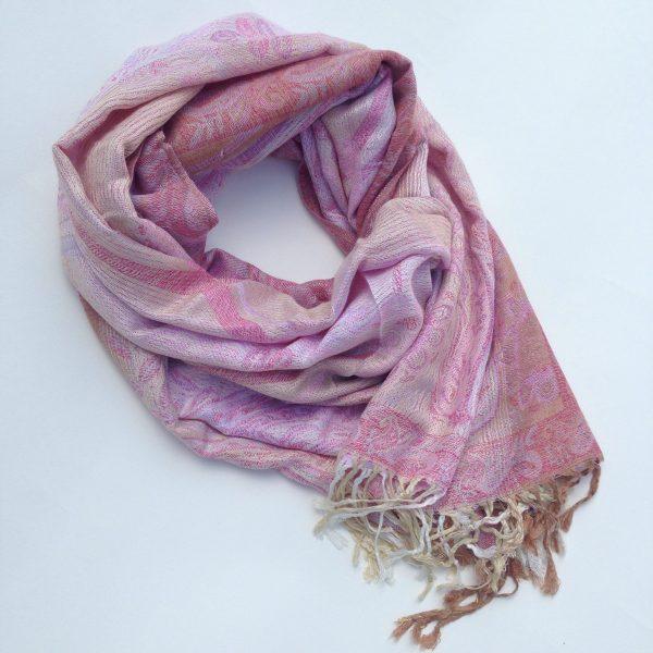 Soft pink beige pocket scarf by sherocksabun