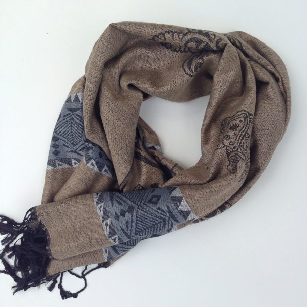 Elephant print, sand with grey-blue stripe and grey and black details. Handcrafted pocket scarf by sherocksabun