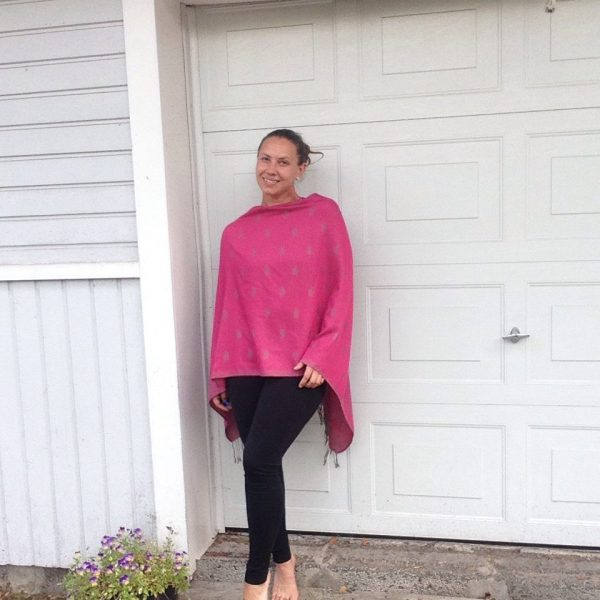 Aniline pink oversized poncho with grey elephant detail by sherocksabun