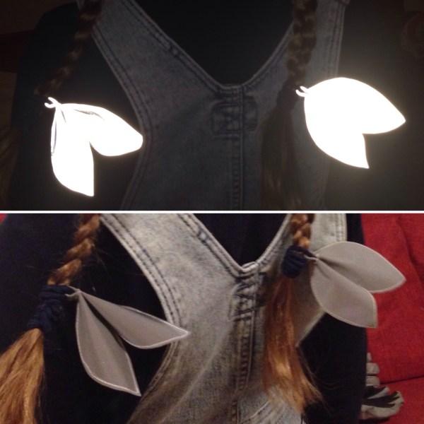 Reflective bunny hair tie, heijastin hiusrusetti, reflekterande hårrosett