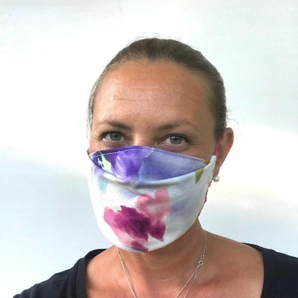 kankainen kasvomaski vesivärit, fabric mask watercolors, ansiktsskydd vattenfärger