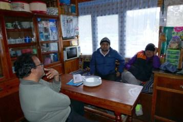 Doctor, Deepak, and Tshering in Kitchen