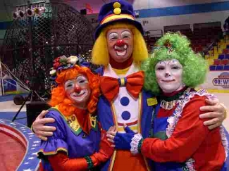 Clowns in Circus Makeup and Costume