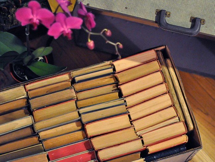 vintage suitcase and books XL