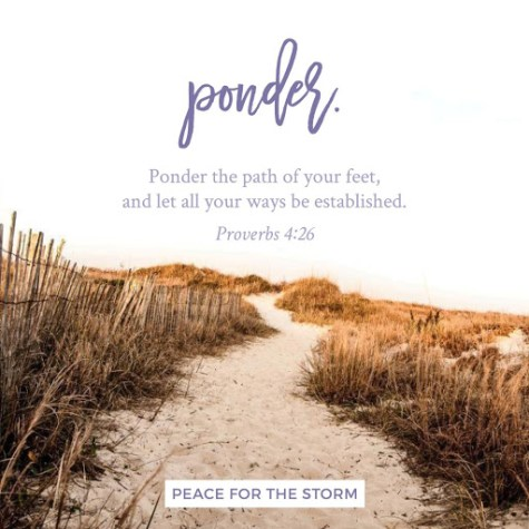 Ponder, Proverbs 4:26, path, beach