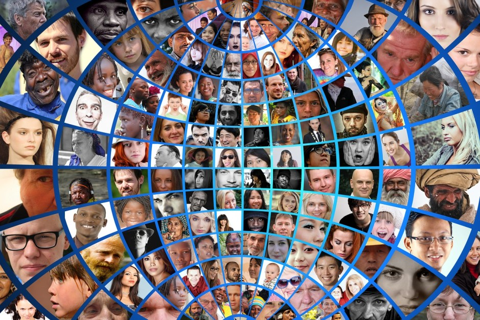 photomontage, humanity, people, men, women, old, young, Black, white,