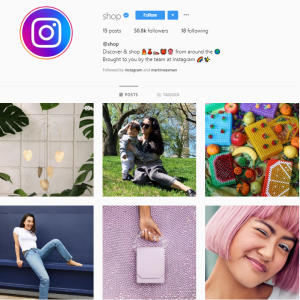 instagram's @shop profile grid