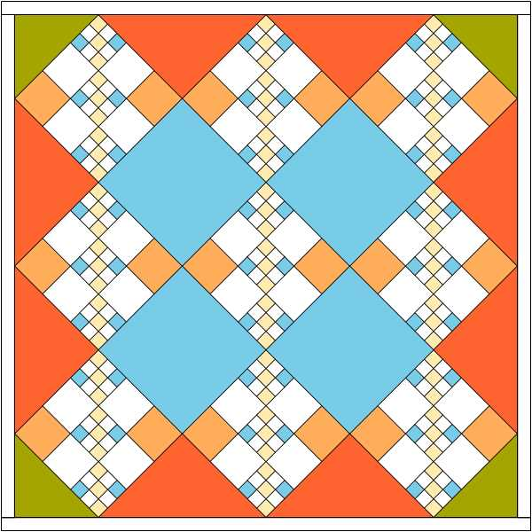 Chain quilt with colored corner triangles