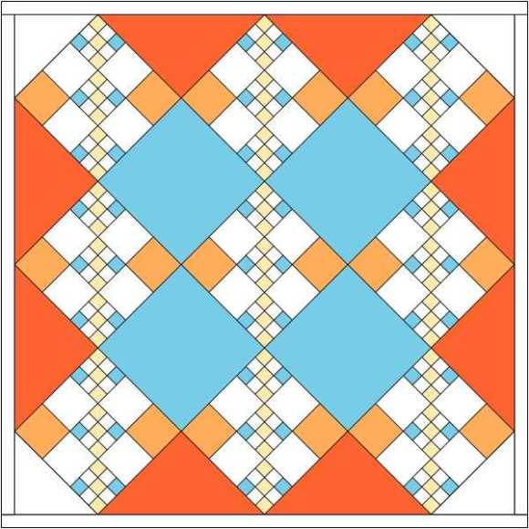 chain quilt with colored large setting triangles
