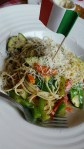 MY FAV FAV FAV SPAGHETTINI. Veggies sauteed in olive oil and sun dried tomato pesto.