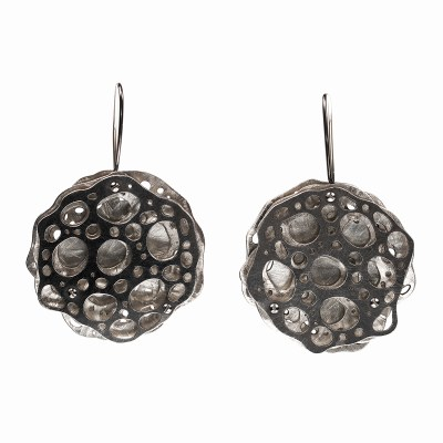 Collosphaera Huxleyi, Müller DMO Microscopic radiolarian sized up, design modified, electrolytically etched in sterling silver and hand fabricated into earrings