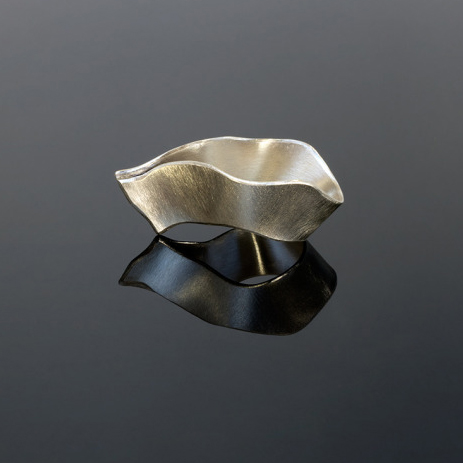 Onshore Wave Ring Hand Formed in Recycled Sterling Silver