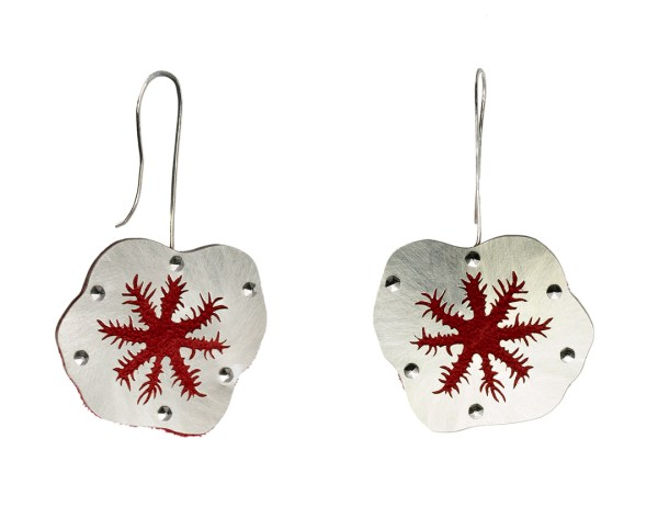 Red Snowflake Coral Polyps Floating Earrings in Recycled Sterling Silver, Red Recycled Suede and Stainless Steel