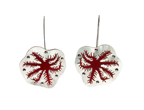 Snowflake Coral Polyps Red Reaching Earrings in Recycled Sterling Silver with Stainless Steel Fasteners, Recycled suede, Niobium Ear Wires