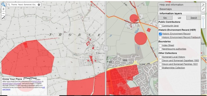 Know Your Place-a resource review_Shersca Genealogy_Map view of Thorne, Yeovil, Somerset_view with HER positioning